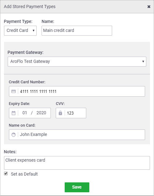 Add a stored payment type