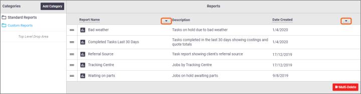 Sort Custom Reports