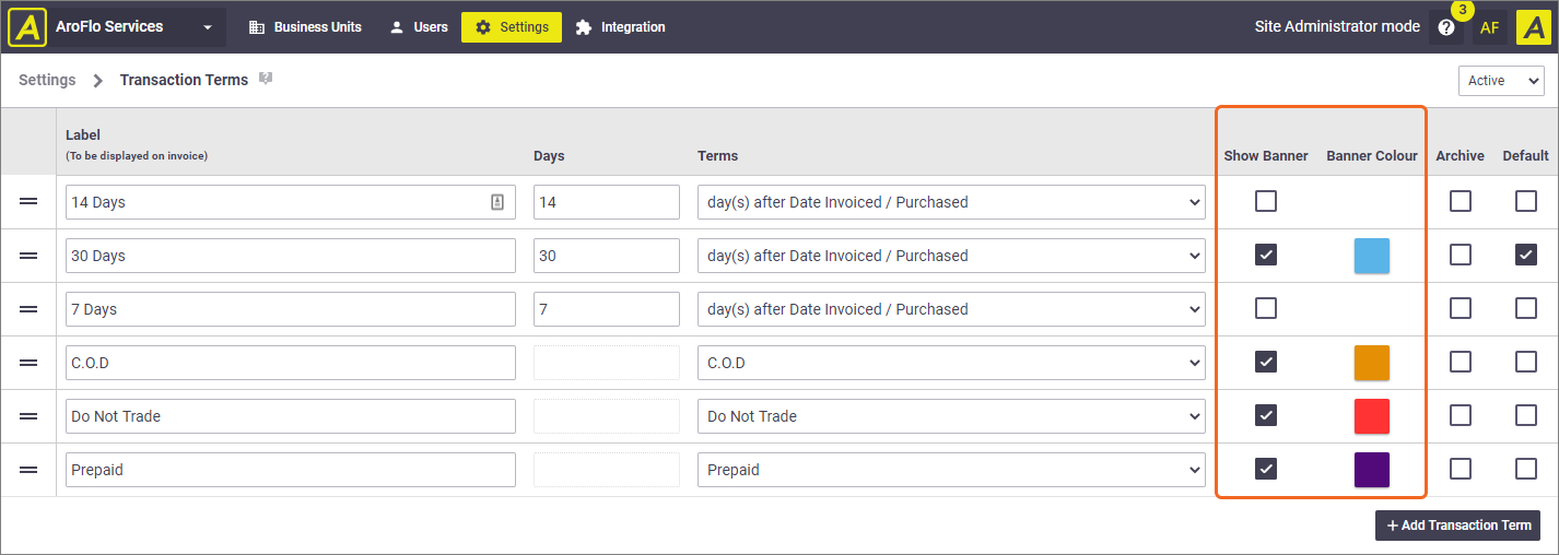 Transaction Terms updates