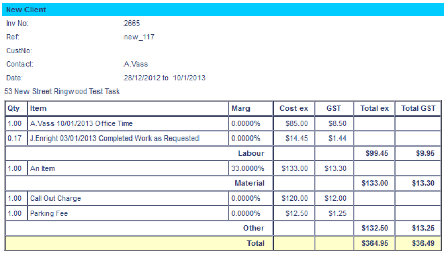 TM Costings Timesheets And Invoicing Learning Tools AroFlo - Invoice package