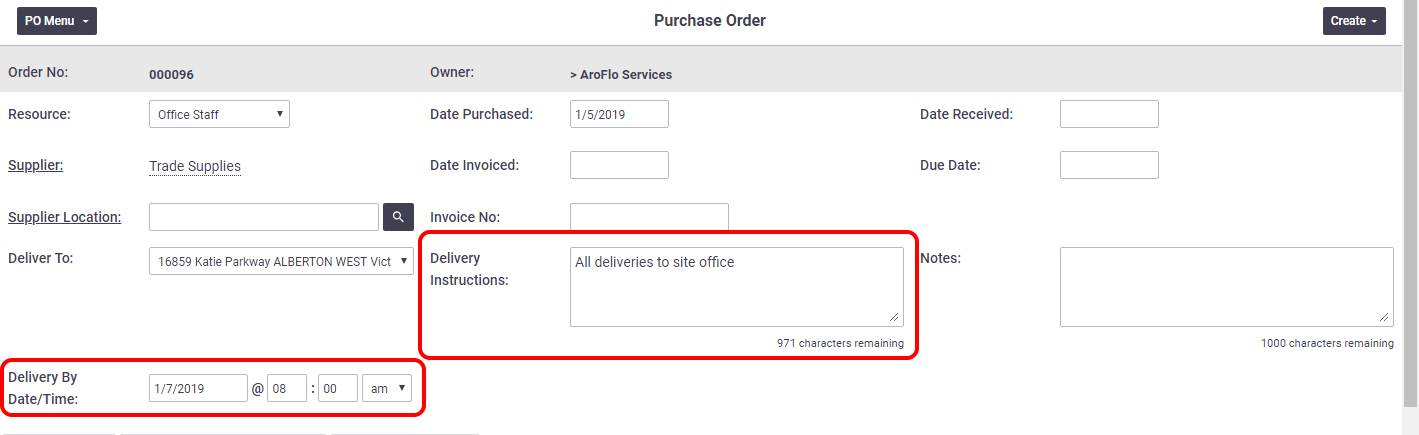 Purchase Order Delivery Fields