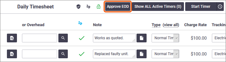Approve EOD Button