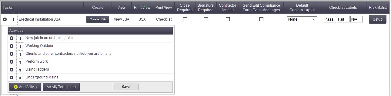 Risk Templates Office Documentation AroFlo Documentation – Jsa Form Template