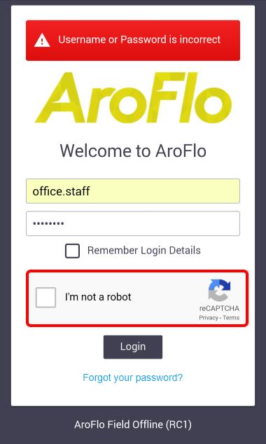 Log in - Field Documentation - AroFlo Documentation