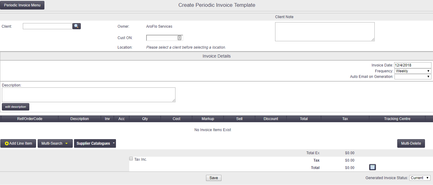Periodic Invoicing Office Documentation AroFlo Documentation - Client invoice template