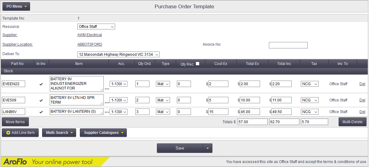 Purchase Order Templates Office Documentation AroFlo Documentation – Purchase Order Template