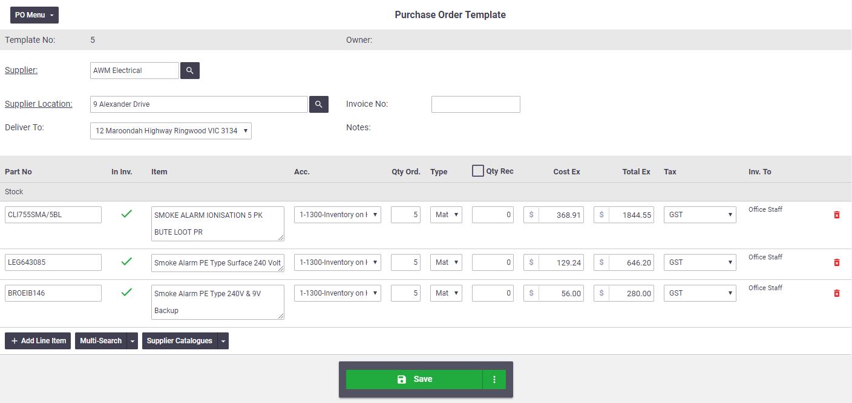 Purchase Order Templates Office Documentation Aroflo Documentation