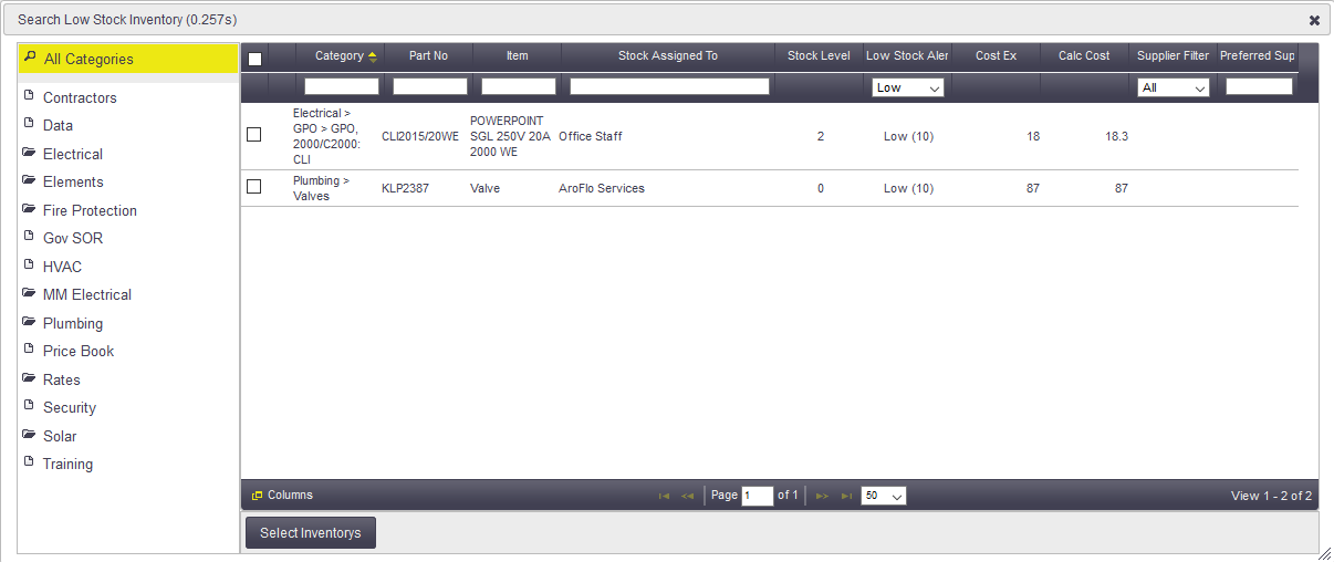 Low Stock Inventory Orders Office Documentation AroFlo